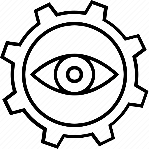 cog, cogwheel, eye, monitor execution, performance icon