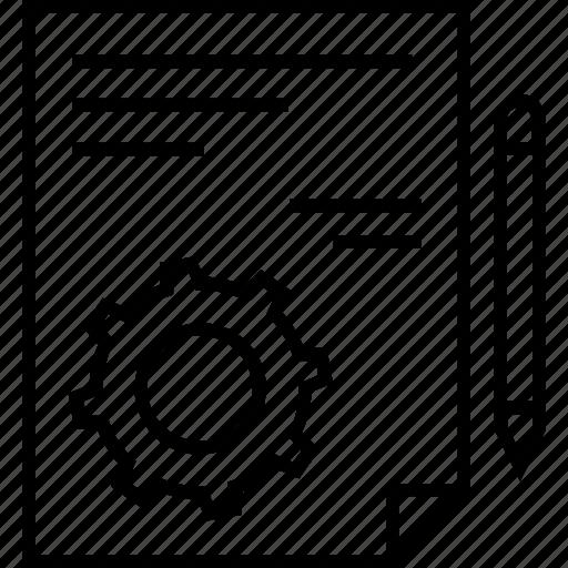 cogwheel, content management, file, management, pencil icon
