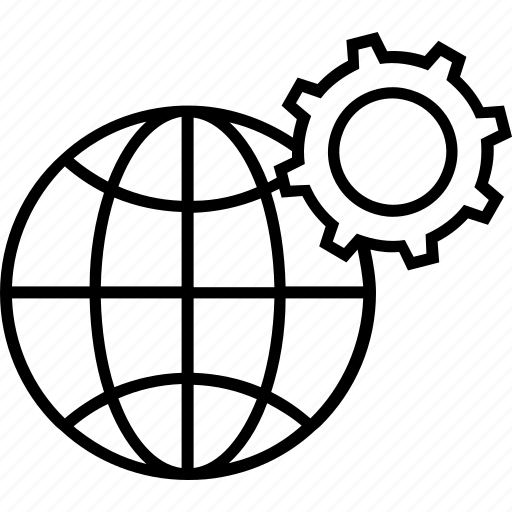 cogwheel, global management, globalization, globe, management icon