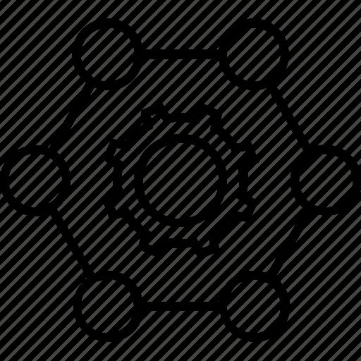 business, cogwheel, collaboration, network, teamwork icon