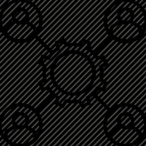 affiliate, campaign managment, cogwheel, group, team managment icon