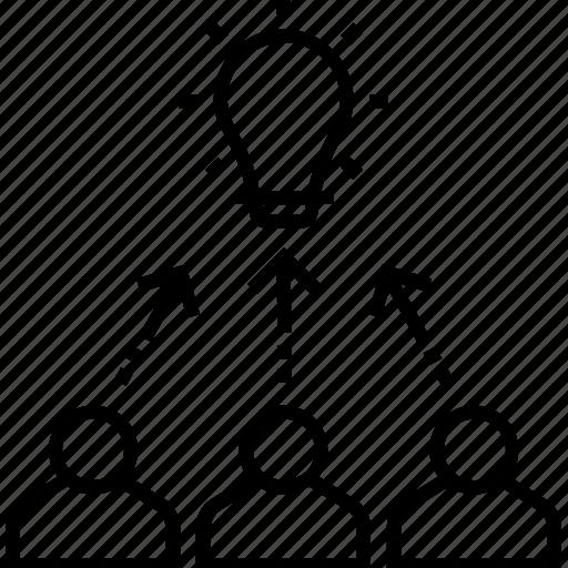 bulb, development, idea, team building, team efforts icon