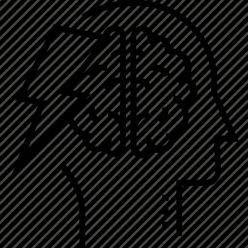 brain, brainstorming, intelligence, mind, thunder icon
