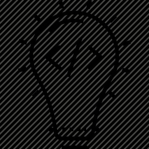 bulb, coding, developing creativity, development, html icon