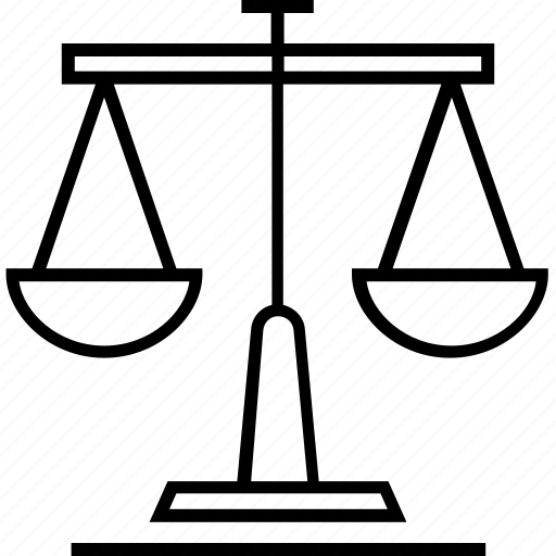 balance scale, court, fairness, justice scale, law icon