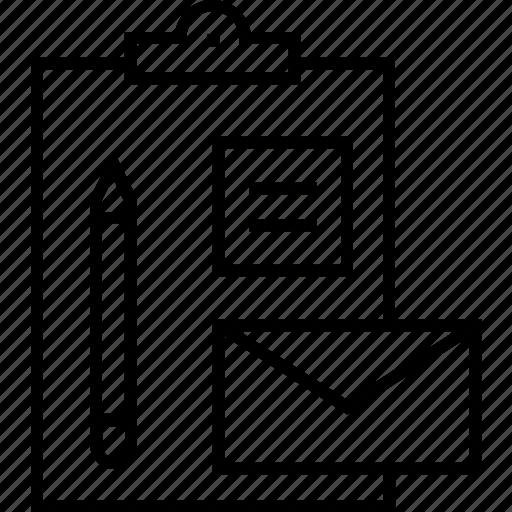 branding, business, documents, envelope, pencil icon