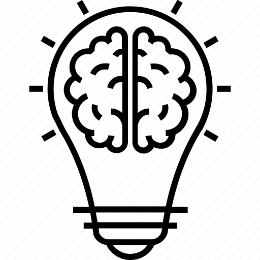 brain, bulb, creative thinking, mind, thinking icon