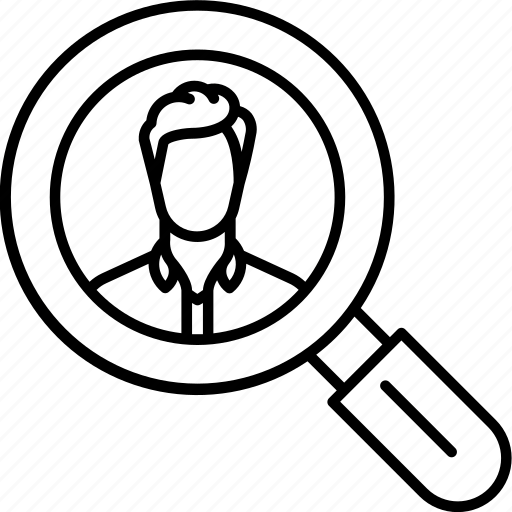 file, find, magnifier, man, personal, profile, search icon icon