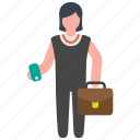 briefcase, business, businesswoman