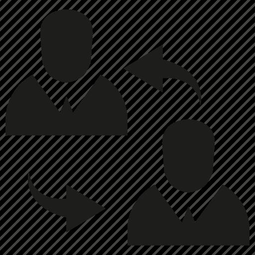 allocate, arrow, people, rotate icon