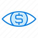 dollar, eye, finance, money icon