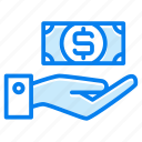 cash, currency, hand, money, on, payment icon