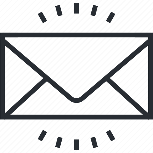email, inbox, letter, line, marketing, message, thin icon