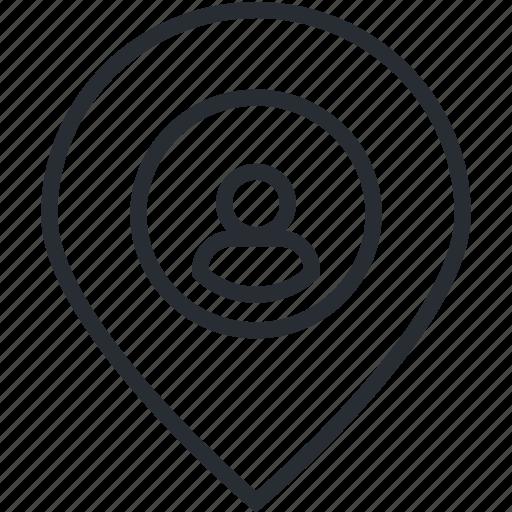 address, destination, gps, line, location, pin, thin icon