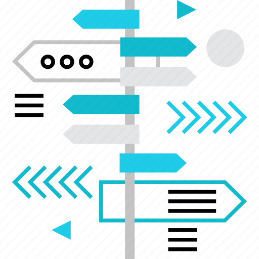 arrows, direction, pointer, signpost, tourism, travel, way icon