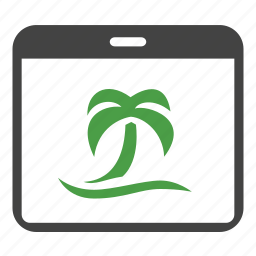 calendar, holiday, palm, tourism, travel, tree, vacation icon