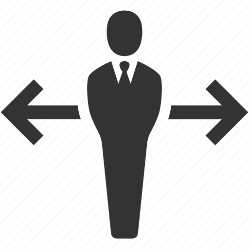 arrow, business, businessman, decision, planning, strategy, user icon