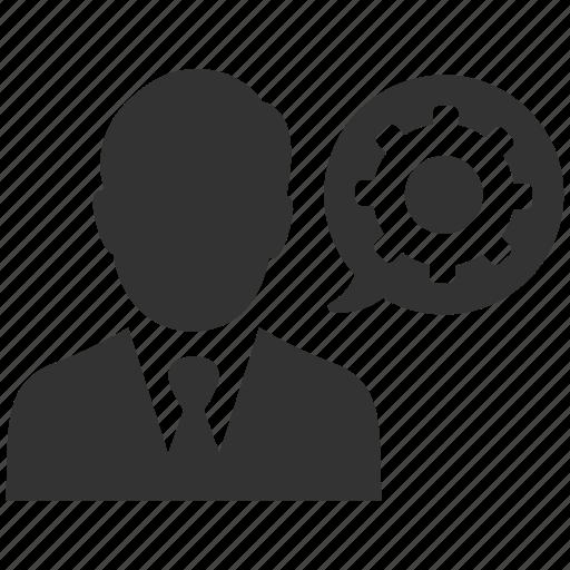 business, businessman, cog, configure, gear, optimization, support icon