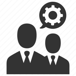 business, businessmen, cog, customer support, gear, settings, support icon