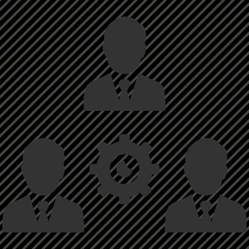 businessmen, cog, gear, group, management, people, productivity icon