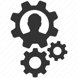 cogs, configure, gears, person, productivity, settings, user icon