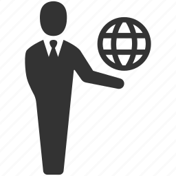 business, businessman, connection, globe, international, internet, web icon