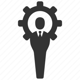 business, businessman, cog, gear, management, manager, support icon