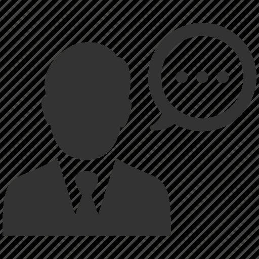business, businessman, comment, negotiations, speech, talk, user icon