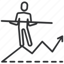 balance, business, chart, diagram, graph, growth, man icon