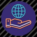 csr, world, hand, globe icon