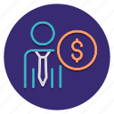 business, costs, dollar, employee icon