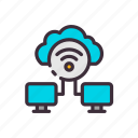 cloud, computer, connection, data, technology, wifi, work icon