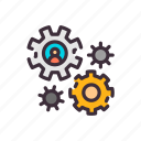 business, concept, gear, hr, human, technology, work icon
