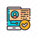 check mark, notification, hr, smartphone, mobile, connection, communication icon