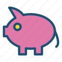 icons, money, money box, pig icon icon