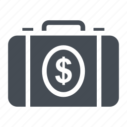currency bag, dollar bag, money, money bag, money suitcase icon