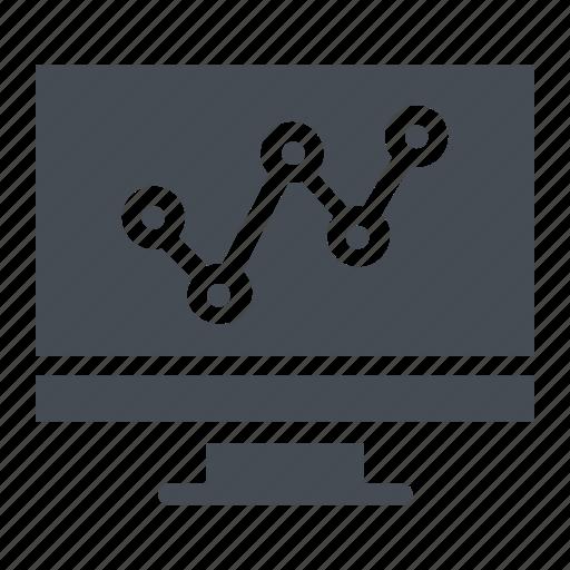 analytics, infographics, monitor, online graph, seo graph icon
