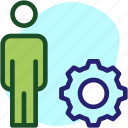 brainstorming, businessman, gear, strategy icon icon