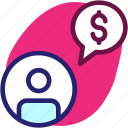 business, businessman, chat, communication, financial, money icon icon