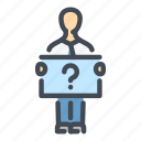 ask, info, man, person, profile, question, stand icon