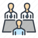 employee, employer, interview, meet, meeting, people icon