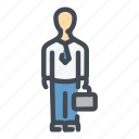 business, candidate, case, employee, man, management, suit icon