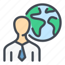 business, earth, globe, man, person, planet, profile icon