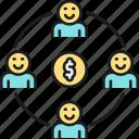 distribution, income, income distribution, profit sharing icon