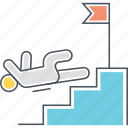 business failure, fail, failure, fall, fell, fell down, stairs icon