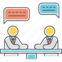 business meeting, chat, client meeting, conference, dialogue, discussion, meeting icon