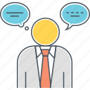 businessman, speaking, speech bubble, thinking, thinking bubble, thought, thought bubble icon