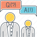 answer, discussion, faq, focus group, q n a, question, question and answer icon
