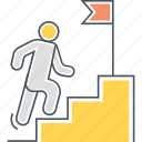 achievement, checkpoint, going up, staircase, stairs, success, upstairs icon