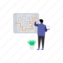 business labyrinth, business maze, business plan, business strategy, entanglement icon
